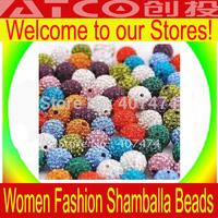 Wholesale Shamballa Beads - Free Shipping  500pcs/lot 10mm beads crystal Shambhala Beads Color options (clay ball)