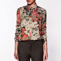 FS529 fashion vintage  flower print shirt elegant blouse free shipping!