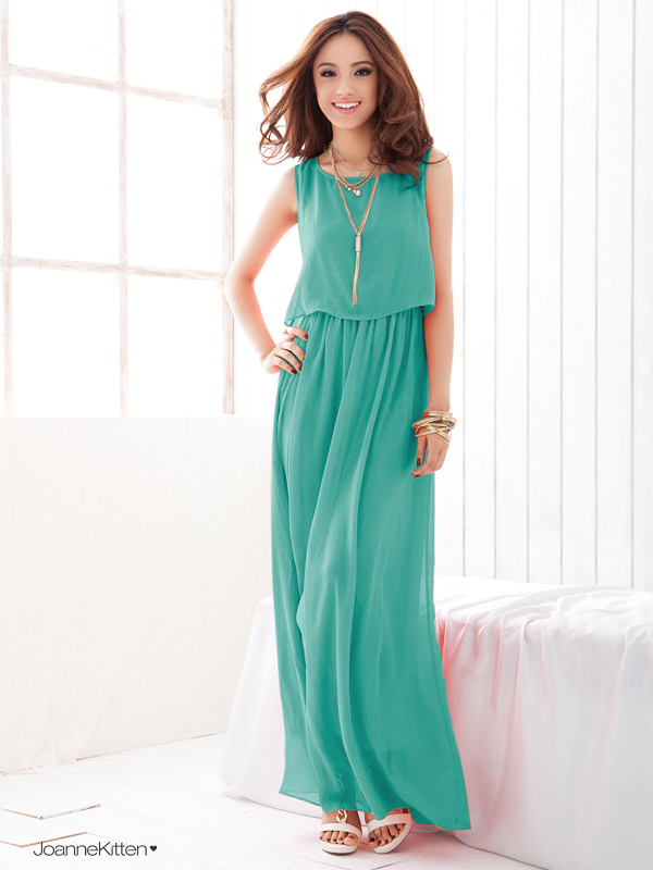 2014 New Summer Women's Bohenmia Chiffon Long Maxi Dresses Sleeveless Vest Dress Vestidos,Plus Size XXL Women Clothing