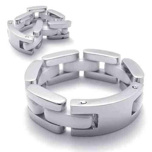 Fashion Jewelry Stainless Steel Rings Single Tier Ceramic Folding Women Men Rings Wedding Engagement Rings 21345(China (Mainland))