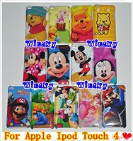 Cartoon Bear Mickey Snow White Mario Design Plastic Hard Case For Apple Ipod Touch4 Touch Itouch 4 DHL Free Shipping