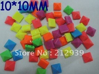 Promotional, Mixed Color 10*10MM 1200Pcs Neon Acrylic Rock Rivet Acrylic Taper Pyramid Punk Spike Studs Beads With Two Holes!