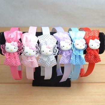 Wholesale lot 10 pcs hair accessory cute girl's cute bow hello kitty headwear headband hairstick mix color Free Shipping H49