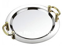16inch stainless steel round service plate-service tray-flat plate-with handle