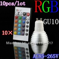 GU10 Remote Control RGB LED Bulb Spot Light 16 Colors Changing Lamp 3W 110V 240V Warranty 3years 10pcs/lot CE ROHS free shipping