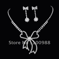 A00087 5sets/Lot Free Shipping Wedding Jewelry Set Brass Silver Crystal Rhineston Lady' Costume Pearl Fashion Party Decoration