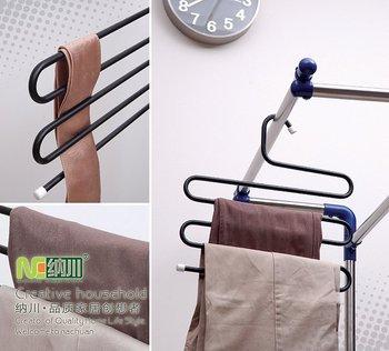 Multilayer trousers rack Magic trousers clothing hanger/rack ion pants hanger/rack (black, gray white)