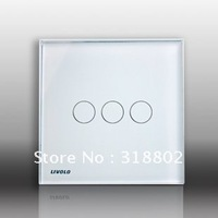 Free Shipping Touch Switch, UK Standard 3 Gangs AC 110~250V Wall Light Touch Sensor Switch, White Crystal Glass Switch Panel