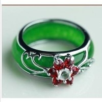 The real thing natural Malay jade ring 925 silver jade ring jade jewelry sale