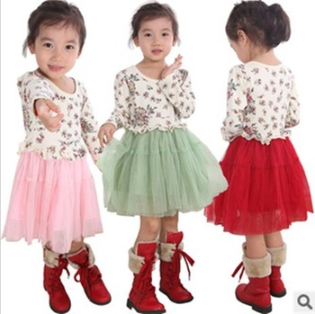 Free shipping  2012 girls elegant princess baby long-sleeved dress female children's wear   q287