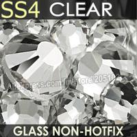 SS4 1.5-1.6mm nail art crystals1440pcs/bag Non HotFix FlatBack white clear glitters Rhinestones,DMC Glue on loose strass stone