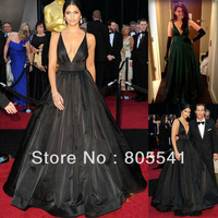 100% Real Photo Gorgeous Camila Alves 2011 Oscar Princess V-neck Long Black Taffeta Celebrity Dresses/Evening Dress CBD12102313