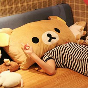 Retail Rilakkuma bear pillow easy bear pillow  cushion double Ears cartoon pillow 35*25CM