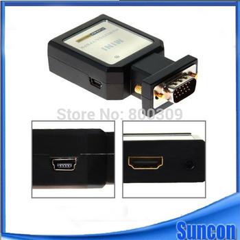 Free Shipping + 1pcs HDV-M618 MINI HDMI to VGA Adapter+ YPBPR + Spdif + Audio MINI HD FURY (Bypass) SH12