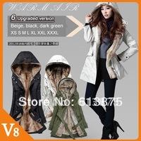 Free Shipping Faux fur lining women's fur Hoodies Ladies coats winter warm long coat jacket clothes XS-3XL coat women winter
