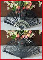 100pcs/lot free shipping plastic frame black lace fan,wedding lace fan,lace hand fan