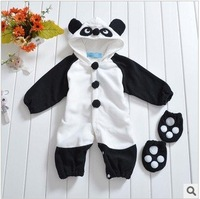 Free Shipping 2014 Newest Style Winter Warm Thickening Panda Baby Rompers 1Set/lot Lovely Baby Clothe