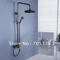 """8"""" round shower head rainfall antique brass With Slide Bar bathroom In-Wall shower faucet AD1022"""
