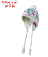 free shipping Sweet child hat autumn winter new arrival kenmont female child knitted hat bow ear protector winter cap km-5982