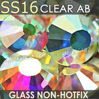 SS16 3.8-4mm, Clear Crystal AB 1440pcs/bag Non HotFix FlatBack Rhinestones,glass Glitter glue-on loose DIY nail crystals stones