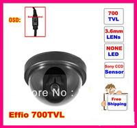 "Surveillance Wired 1/3""Sony EFFIO-E 700tvl With OSD Menu CCTV COLOR DOME CAMERA .Free shipping"