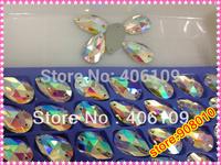 72Pcs/Lot,7x12mm Teardrop Sew On Stones Crystal AB color Flatback Pear Shape Sewing  Crystal Silver Base 2 holes