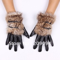 Free shipping fashion short design sheepskin genuine leather gloves women winter warm thermal rabbit fur gloves