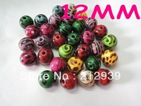 Hotsale, Fashion 12MM Mixed Color  520Pcs A Lot Leopard Acrylic Beads Wholesale, Loose Beads Acrylic Jewelry For Necklace!
