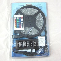 Shop Parcel FREE SHIPPING 5M 5050  SMD RGB Led Waterproof Strip  Light  150 LED (DC 12V) +IR Remote Control + 6A Power Supply