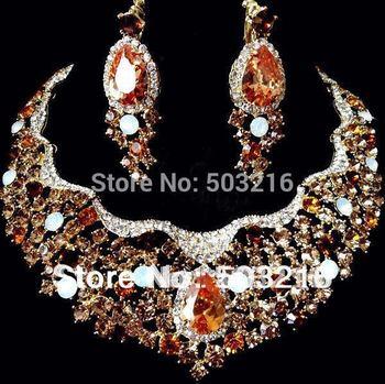 High Quality Austria Crystal 18 K Gold Plated Newest Big Design Fashion Wedding Jewelry Set