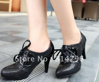 Free   shipping      Women's shoes leather serpentine embossed high documentary shoes
