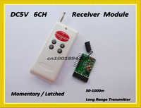 6CH RF Receiver Module with Decoding + Transmitter1000M  Wireless Remote Control System Momentary Latched TTL 6CH Signal Output