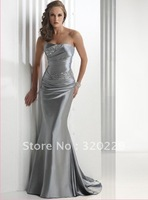 Cheap long stain prom dress 2014 Stock silver with beading evening  Dress size 6 8 10 12 14 16   LJ333
