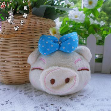 Hot Sale 50pcs/Lot Cartoon Cute Piggy With Bow Plush Pendants Toys For Key/Phone/Bag/Christmas Gifts Retail(China (Mainland))