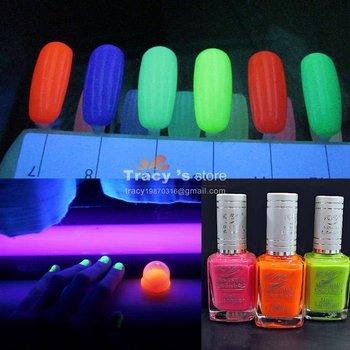 New Fashion 24 Colors Available Luminous Nail Art Polish Paint Lacquer 15ml/Bottle Fluorescent Enamel Black Light Neon Free ship