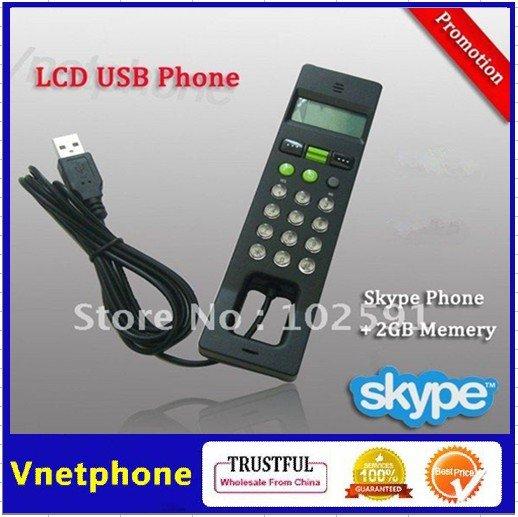 2014 Hot Sale NEW Black Skype USB Phone Internet Handset Skype Telephone with 2GB Flash Memory LCD Screen skype phone(China (Mainland))