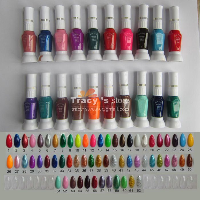 Free Shippping Wholesale 62 Color 2 Way Nail Art Care Polish With Brush & Pen Varnish 62 colors/Lot DIY Glitter Paint Tip(China (Mainland))