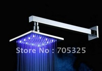 Wall Mounted 8-inch LED Temperature Senor Control Square Chrome Finish Rainfall Shower Head + Shower Arm AD1042