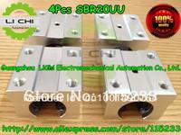 Free shipping 4PCS / set SBR20UU Linear slide block for SBR20 Linear guide CNC XYZ