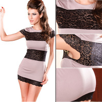 Free Shipping Fashion Beige and Black Print Lace Decoration Short-sleeve Sexy Mini Dress FWO10085