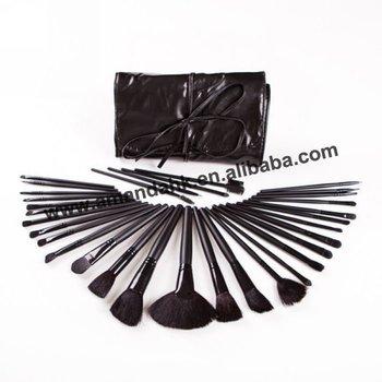 Makeup Brush Cosmetic set Black Leather Case 32 pcs Facial Make up Brush Kit  Wool Brushes Tools Set 20sets/lot Makeup Brushes