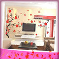 XY-8029 50 by 70cm Free Shipping Popular Special Colorful Flowers Happy House Removable Decor Wall Stickers 2pcs/lot
