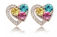 White Gold Plated Heart Earrings, Make With AU Crystal,Crystal Earrings R074