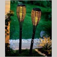1PC Solar Yellow Rattan Torch Light Pathway Garden Lamp