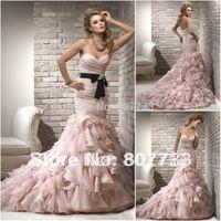 Fabulous with two belts ruffle organza mermaid pink wedding dress