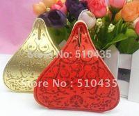 Freeshipping European Hot Shinning Water Droplets Beautiful Candy Box wedding Favor Box, gold Powder box(Plum red.gold.red)