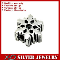 XD KM107  Fashion 925 sterling silver snowflake shape spacer vintage beads to jewelry making