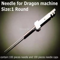 100pcs x 1R Permanent Sterilized Makeup  Card  Needles & Needle caps For Dragon tattoo machine Free shipping