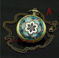 A011 47x47mm Fashion Vintage Elegant Ceramics Flowers Pocket Watch Necklace+5 Colors