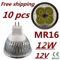 10pcs/lot LED High power MR16 4x3W 12W led Light led Lamp led Downlight led bulb spotlight Free shipping
